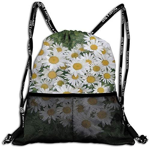 Etryrt Zaino con Coulisse,Borse Sacca,Sacchetto Daisy Flower Unisex Home Rucksack Shoulder Bag Sport Drawstring Backpack Bag for Men Women