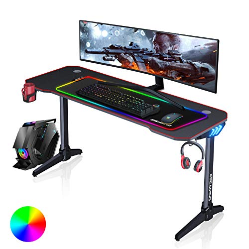 ESGAMING Gaming Desk with LED Lights, 55 inch Home Office Desk, T-Shaped Gaming Computer Desk with Large Full Desk Mouse Pad, Cup Holder, Headphone Hooks, Power Socket and 2 Cable Management Grommets