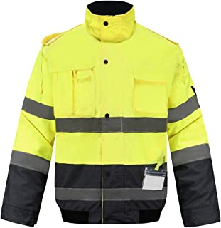 Hi-vis Reflective Winter Bomber Coat, A-SAFETY, High Visibility Safety Waterproof Jacket Work wear with Detachable Sleeve, Zip Out Fleece Liner, Black Bottom, L