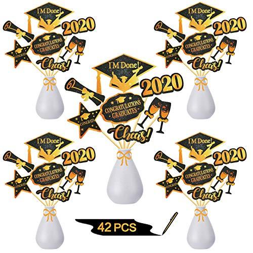 42 stuks 2020 Graduation Cupcake Toppers Klasse van 2020 Graduation Diploma 2020 Grad Cap Topper kiest Tandenstoker voor 2020 Graduation Party Supplies