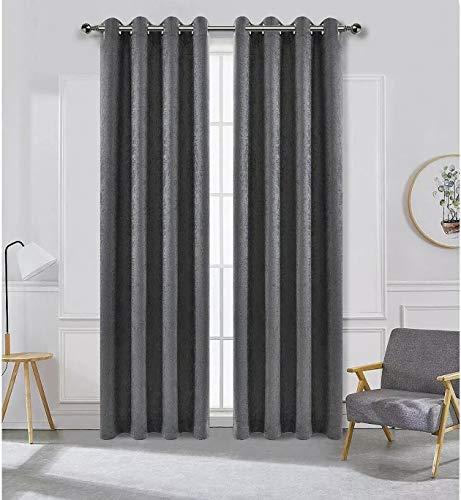 Ruthy's Textile Blackout Curtains Panels Window Draperies 52x84 Inch, 2 Piece Grommet Panels, Insulating Room Darkening Blackout Drapes for Bedroom & Living Room Color: Grey / Charcoal