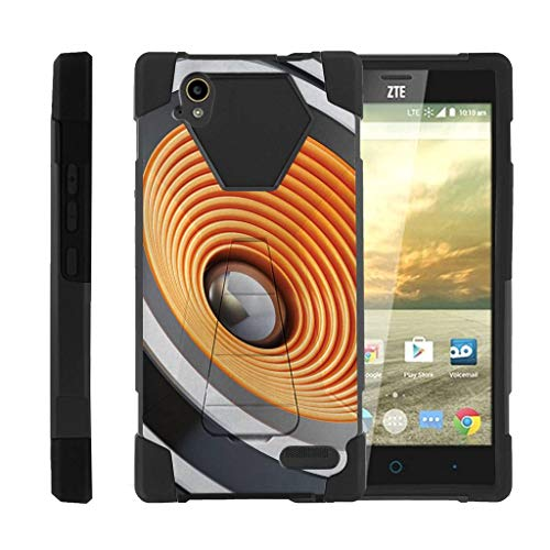 TurtleArmor | Compatible with ZTE Warp Elite Case | N9518 [Dynamic Shell] Absorbent Impact Proof Case Silicone Hard Kickstand Cover Music - Sound Speakers