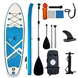 SUP Gonfiabile Stand Up Paddle Board,Surf Barca Piedi Ultraleggero per Giovani Adulti Tavola Traino Drop Stitch PVC,con Piattaforma Antiscivolo,Pinna Pompa Mano,Guinzaglio,Kit Riparazione,320cm