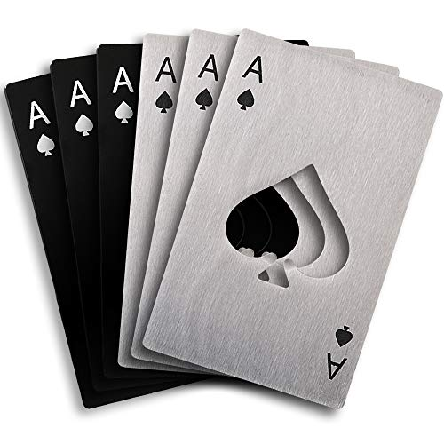 Cozihom 6 apribottiglie piatto in acciaio inox per casinò, apribottiglie da poker, apribottiglie a vanga, argento e nero