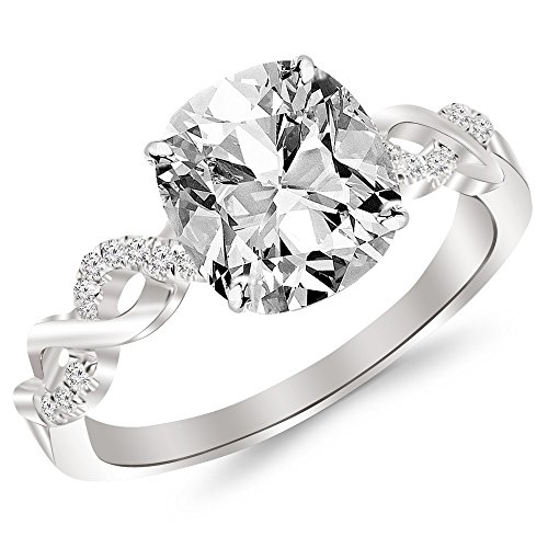 1.13 Carat t.w. 14K White Gold Cushion Twisting Infinity and Diamond Split Shank Pave Set Diamond Engagement Ring K I2 Clarity Center Stones.
