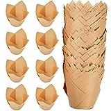 Pirottini per muffin, 200 Pezzi pirottini di carta da forno a tulipano, involucri per muffin per cupcake, adatti per cupcake e muffin,compleanno festa di Natale,marrone chiaro