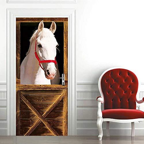 XXXCH 3D Türaufkleber Weißes Pferd 77X200CM Türtapete selbstklebend TürPoster - Fototapete Türfolie Poster Tapete Meer Aufkleber DIY Selbstklebende Wandbild PVC Wasserdichte Tapete
