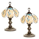 OK Lighting OK-603C-MA1 14.25-Inch Touch Lamp with Maria & Angel Theme, Black Chrome (Set of Two (2))