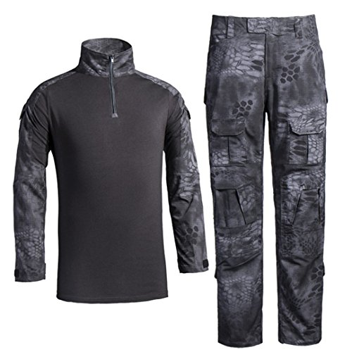 Men's Military Tactical Shirt and Pants Multicam Army Camo Hunting Airsoft Paintball BDU Combat Uniform Dry Quick Black Python Medium