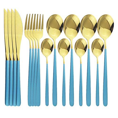 16pcs Blue Gold Cutlery Set Set de acero inoxidable Juego de vajillas Oro Vajilla Cocina Cubiertas Espejo Colorido Colorido Set (Color : Blue Gold)