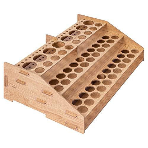 Amazon Basics Craft Paint & Brush Organizer Rack, Holds up to 60 Bottles (52 1-inch bottles and 8 1.47-inch bottles) and 22 brushes - 14 x 8 Inches, Wood Finish