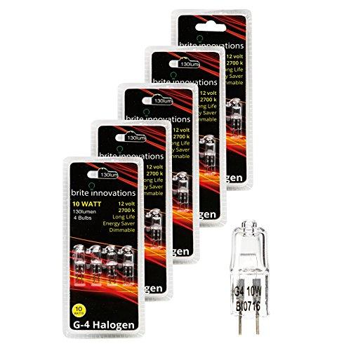 Brite Innovations G4 Halogen Bulb, 10 Watt (20 Pack) Dimmable Soft White 2700K -12V-Bi Pin -, T3 JC Type, Clear Light Bulb
