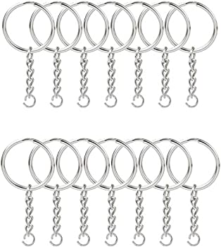 KINGFOREST 100PCS Split Key Ring with Chain 1 inch and Jump Rings,Split Key Ring with Chain Silver Color Metal Split Key Chain Ring Parts with Open Jump Ring and Connector.
