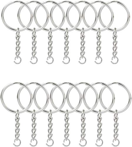 KINGFOREST 100PCS Split Key Ring with Chain 1 inch and Jump Rings,Split Key...