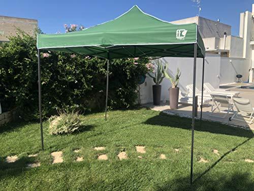 FT TENORE Gazebo RICHIUDIBILE 3X3 M Pieghevole A Fisarmonica Mercato TENDONE con Sacca (Verde)
