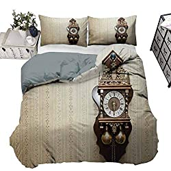 Bedding Duvet Cover Set Clock Premium Duvet Cover Set An Antique Style Wood Carving Clock with Roman Numerals Hanging on the Wall Design Decorative 3 Piece Bedding Set with 2 Pillow Shams, Twin Size