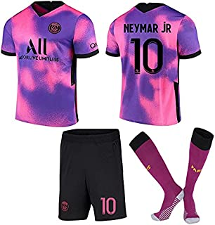 ACJIA P-S-G Jeugd 2020/21 Vierde Voetbalshirt Kit - Roze/Paars Unisex Voetbalrugby Fan Gift Training Shirts T-shirts & Top...