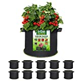 SunArea 10-Pack 5 Gallon Grow Bags, Thickened Nonwoven Aeration Fabric Pots with Reinforced Handles, Heavy Duty Plant Grow Bag for Gardening