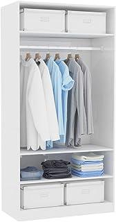 Festnight Garde-Robe Armoire Penderie Armoire de Rangement Blanc Brillant 100 x 50 x 200 cm Aggloméré
