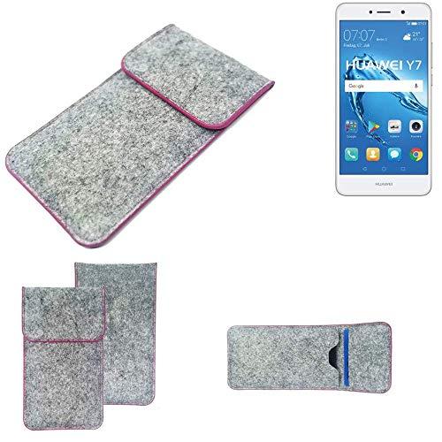 K-S-Trade Handy Schutz Hülle Für Huawei Y7 Dual SIM Schutzhülle Handyhülle Filztasche Pouch Tasche Hülle Sleeve Filzhülle Hellgrau Pinker Rand