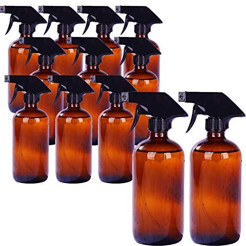 Botella vacía de vidrio ámbar con spray de vidrio ámbar vacía (paquete de 3) botella de spray manual a presión para plantas, mascotas, aceites esenciales, productos de limpieza, pulverizador de disparador negro con ajustes de pulverización y flujo