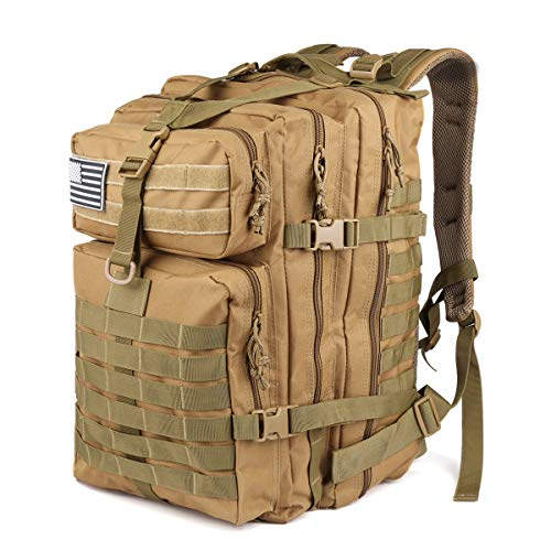 ROARING FIRE Tactical Backpack. Large Army Assault Pack, Expandable Molle Backpack for The Outdoor, Hiking, 3 Day Pack, Bug Out Bag, Trekking, Hunting or Tactical Uses 45L (Desert Tan)