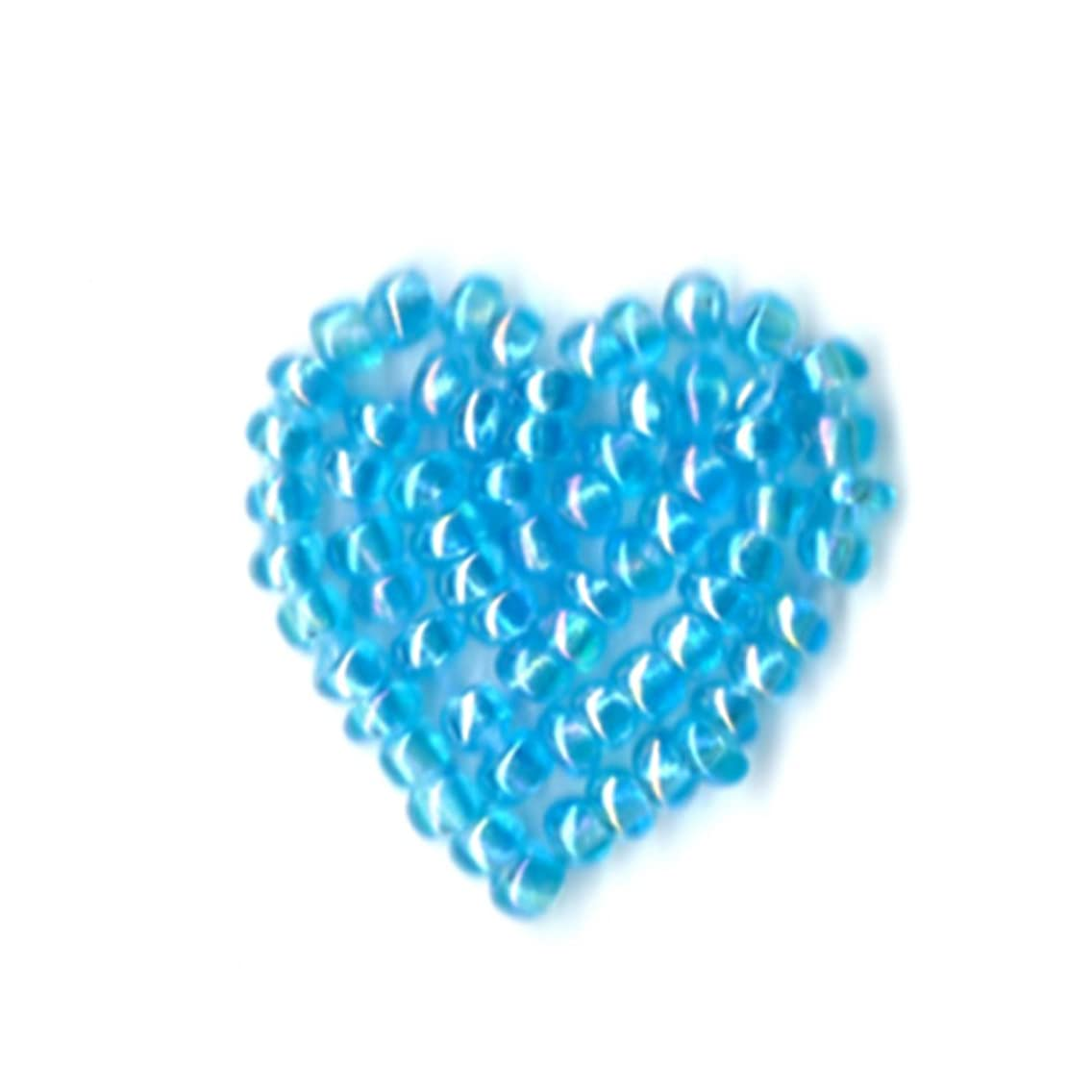 Venus Ribbon Iron-On Beaded Heart Applique, 4-Piece, 3/4-Inch by 3/4-Inch, Turquoise