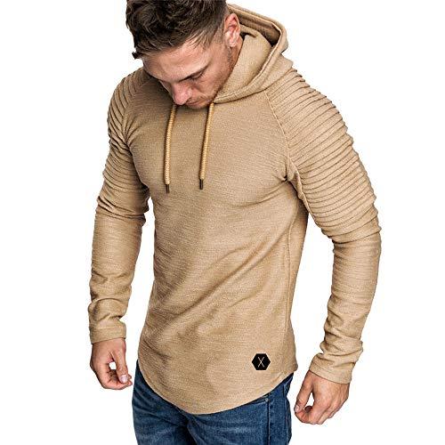Yvelands con Capucha Camiseta de Manga Larga para Hombre Color sólido a Rayas Plisado Slim fit suéter Outwear Invierno de otoño, liquidación!