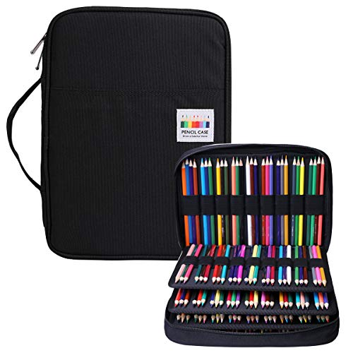 BOMKEE Pencil Case 220 Slots Colored Pencils Gel Pen Organizer Bag with Zipper for Student Kids Adults Artist Handy Glitter Gel Pens, Refills, Waterproof Coloring Holder Pencils Case(Black)