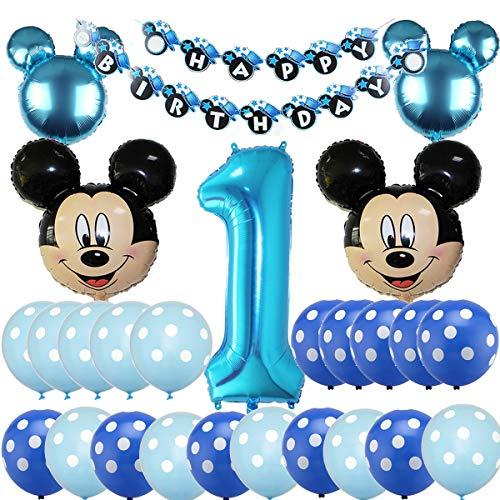Mickey Party Globos, BESTZY Decoraciones de cumpleaños de Mickey Mouse, 1er Fiesta Cumpleaños Bebe Globos Decoracion para Baby Shower de Cumpleaños