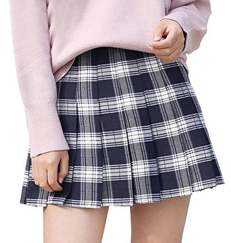 Falda A Cuadros De Otoño Invierno Faldas De Damas Mode De Marca Ladys para Hombre Falda Plisada Corta Falda De Uniforme Escolar Falda Cosplay (Color : Blanco, Size : S)