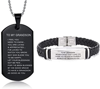 LiFashion LF 316L Stainless Steel Name Customized to My Grandson Jewelry Set Sentiment Motivational Leather Bracelet for Grandson,Dog Tag Necklace for Grandson for Birthday from Grandpa Grandma