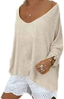 Loyomobak Women's Loose O Neck Solid Long Sleeve Plus Size Tops T-Shirt Blouse