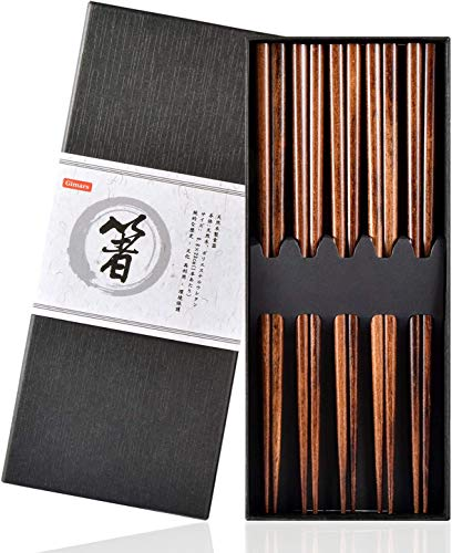 Gimars - Palillos para Comer ramen, sushi, etc. (5 Pares, Palillos Reutilizables, 23 cm, Palillos japoneses Naturales, Madera para vajilla China), Marrón oscuro