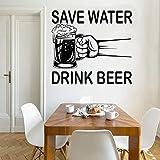 Ahorre agua Beba Cerveza Frase Citas Taza Taza Vidrio Pub Bar Alcohol Beerhouse Etiqueta de la pared Calcomanía de vinilo Dormitorio Sala de estar Club Restaurante Decoración del hogar Mural