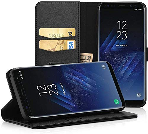 EasyAcc Hülle Case für Samsung Galaxy S8, Lederhülle PU Leder Flip Tasche Klappbar Schutzhülle Handyhülle mit [Ständer Funktion] Card Holder Kunstleder Cover Kompatibel mit Samsung Galaxy S8 - Schwarz