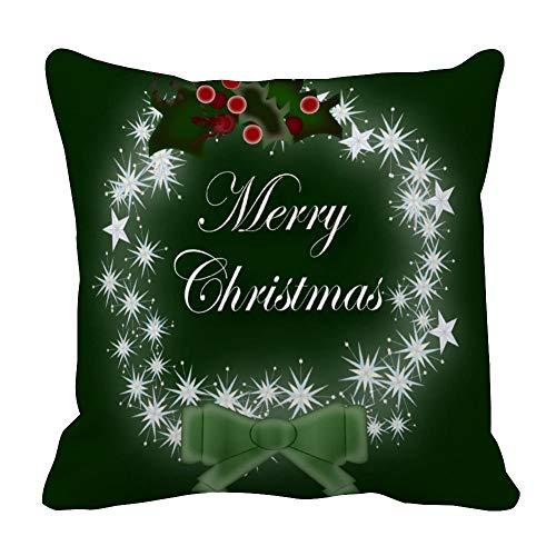 Perfecone Home Improvement - Funda de almohada de algodón, diseño de corona de Navidad y muérdago para sofá y coche, 1 paquete de 60 x 60 cm