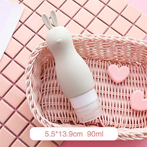 FORHOME 3 Stks Draagbare Siliconen Navulbare Fleszeepdispenser Lege Reisverpakkingspers voor Lotion Shampoo Cosmetische Squeeze Containers Grijs Konijn