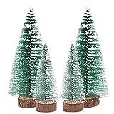 OULII 6pcs Mini árbol de Navidad palo cedro blanco escritorio pequeño árbol de Navidad decoración de Navidad