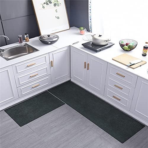 MKMKL Alfombrilla de Cocina para el hogar, Alfombrilla Larga Impermeable y Resistente al Aceite, Alfombrilla de Goma con Textura de imitación de Cuero,Verde,18x71in