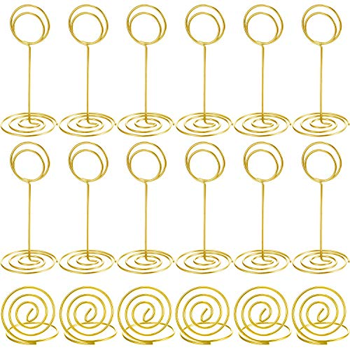 36 Pieces Table Number Holders Table Card Photo Menu Name Holder, 24 Pieces Stand Table Holder and 12 Pieces Ring Table Holder (Gold B)