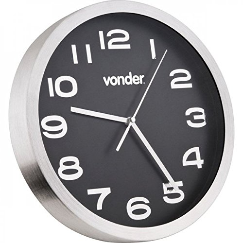 Relógio de Parede Prata com Fundo Preto 360mm-VONDER-3880360000