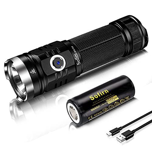 Sofirn SP33 V3.0 Led Taschenlampe Max 3500 Lumen wiederaufladbare Lampe, USB Ladeanschluss XHP50.2 Leds mit 26650 Batterie für Outdoor Aktivitäten Camping Walking