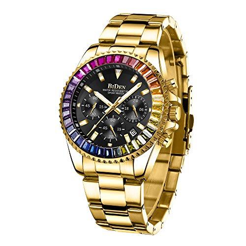 Orologi da uomo cronografo in acciaio inox impermeabile data analogico al quarzo orologio business casual moda orologio da polso per uomo, Oro Nero A, Bracciale