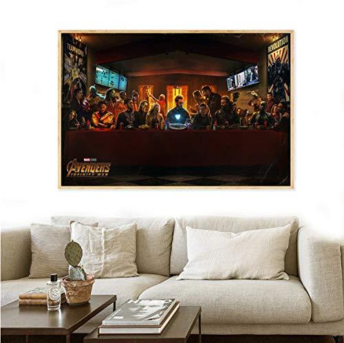 taoyuemaoyi Leinwanddruck Avengers Infinity War Charaktere Letzte Abendmahl Poster Wandbilder Für Wohnzimmer Dekoration Film Malerei Marvel 40 * 60 cm