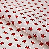 Hans-Textil-Shop Stoff Meterware Sterne 8 mm Rot auf Weiß