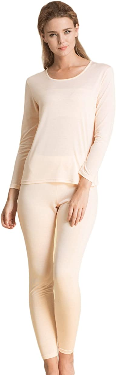 CLC Women's Pure Mulberry Silk Knitted Thermal Underwear Pajama Sets
