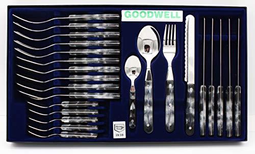 Goodwell Besteck, Messer, Gabel und Löffel Set (24 Teilig) im Etui mit Wellenschliff (Marmor)
