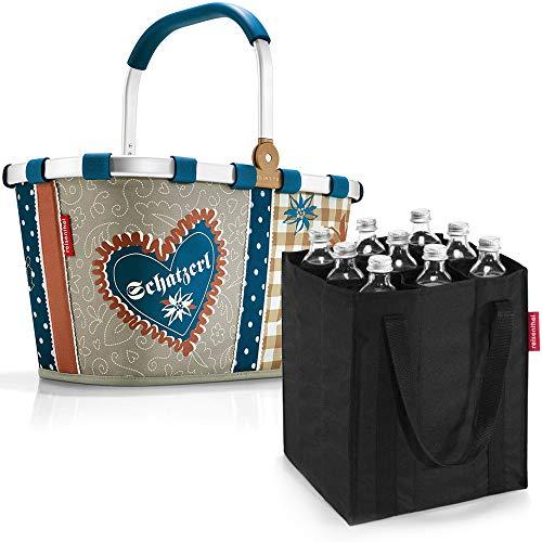 reisenthel Set Carrybag Plus farblich passender bottlebag Einkaufskorb Einkaufstasche (Bavaria 4)