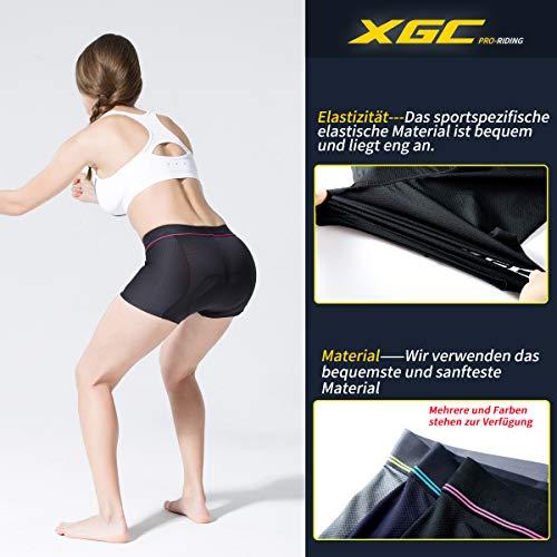 XGC Damen Radunterhose Radsportshorts Fahrradhosen mit elastische atmungsaktive 4D Gel Sitzpolster mit Einer hohen Dichte (Black, M) - 4